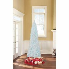 NEW White Artificial Christmas Tree 7 ft Tall Blue lights Undecorated