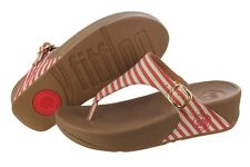 Fitflop The Skinny 550-002 Red Canvas Slippers Sandals Medium (B, M) Womens