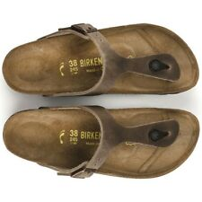 Birkenstock Gizeh Classic Sandals - Waxed Leather - Tobacco Brown