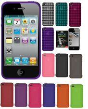 AMZER Silicone Jelly Skin Case Luxe Argyle Cover Screen Protector For iPhone 4S