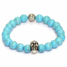 Turquoise Beaded stretch bracelet with Silver Skull and Engraved Bead