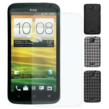 AMZER Luxe Argyle Gel TPU Skin Snap On Hard Case Screen Protector For HTC One X