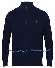 Ralph Lauren Polo Men's Half Zip Chain Knit Cotton Navy Grey Jumper RRP £125