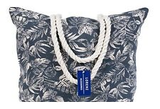 Ladies Large Blue Leaf Design Beach Shoulder Tote Summer Casual Holiday Bag Gift