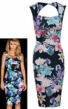 New Womens Ladies Kim Kardashian Celeb Kim Floral SquareNeck Bodycon Party Dress