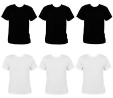 PACK OF 6 MENS BLACK WHITE CREW NECK T-SHIRT 100% COTTON ADULT FASHION S-XXL