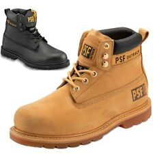 MENS PSF LEATHER SAFETY WORK SHOES STEEL TOE CAP TRAINER HIKER ANKLE BOOTS SIZE