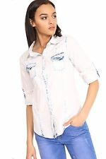 Womens Casual Acid Wash Button Up Bleached Long Sleeve Light Blue Denim Shirt