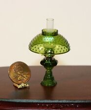 Dollhouse Miniature Non-Working Oil Lamp w/Hobnail Shade in Emerald