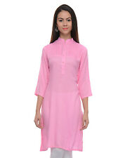 Vipakshi Women's Pink 3/4th Sleeves Rayon Kurti (RS-134 K)