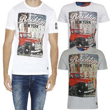 Brave Soul Mens Jeepers Brooklyn New York Print T Shirt Designer Cotton Tee Top