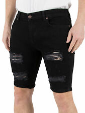 Sik Silk Men's Distressed Ripped Denim Shorts, Black