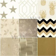 ARTHOUSE ORO CARTA DA PARATI PAILLETTES DAMASCO GEOMETRICO CHEVRON DI STELLE