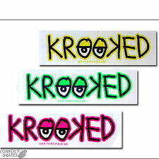 "KROOKED ""Eyes Logo"" Skateboard Surf Sticker 18cm Yellow Pink Green GONZ Gonzalez"