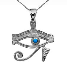 Sterling Silver Egyptian Protect Eye of Horus Turquoise Stone Pendant Necklace