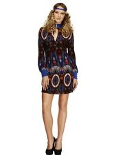 Stunning 70's Flower Power Hippy Ladies Fancy Dress Costume Hen Party Outfit