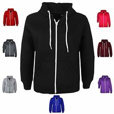 NEW KIDS CHILDREN UNISEX HOODED SWEATSHIRT JACKET GIRLS BOYS PLAIN ZIP UP HOODIE