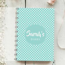 Personalised Diary Tiffany Dot 1 Week to 1 Page, Any Month Start Journal Planner