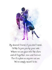 ART PRINT Jack and Sally Quote, Nightmare Before Christmas illustration, Gift