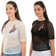 Womens Semi Sheer Mesh Fish Net Short Sleeve Floral Embroidered Top T-Shirt