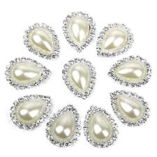 Lot 10pcs Bouton Couture Perle Strass Embellissement Dos Plat Décor DIY 20x 25mm