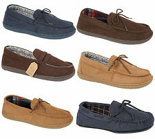 Mens Moccasins Slippers Loafers Faux Suede Sheepskin Tartan Lined House Shoes