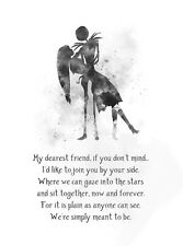 ART PRINT Jack and Sally Quote, Nightmare Before Christmas illustration, B & W
