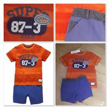 LADYBIRD Baby Boys Clothes 18-24 Months BNWT Orange T-Shirt & Chino Shorts Set