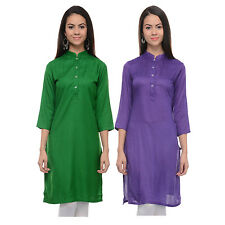 Vipakshi Women's Solid Green & Purple Rayon Combo Kurti (Pack of 2) (CM-10 K)