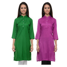 Vipakshi Women Solid Green & Light Purple Rayon Combo Kurti (Pack of 2)(CM-10 M)