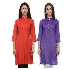 Vipakshi Women's Solid Red & Purple Rayon Combo Kurti (Pack of 2) (CM-11 U)