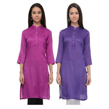 Vipakshi Women's Light Purple & Purple Rayon Combo Kurti (Pack of 2) (CM-10 U)