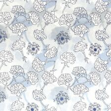 100% Cotton Poplin Fabric - Carnations And Cow Parsley Floral Design - 3 Wishes