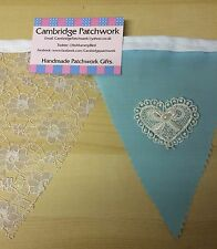 """Wedding Bunting """"English White Lace & Blue Cotton with Lace Hearts & Pearls"""""""