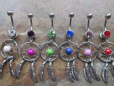 Crystal Gem Dreamcatcher Navel Belly Bar 10mm Belly Button Ring Red Blue Lilac