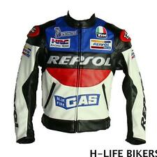 MOTORCYCLE JACKET MOTO CASUAL JACKET REPSOL STYLE LEATHER