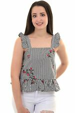Womens Frill Ruffle Strap Sleeveless Gingham Check Floral Embroidered Peplum Top