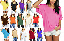 NEW WOMENS LADIES BAGGY LOOSE FIT V NECK TURN UP SHORT SLEEVE TOP T SHIRTS 8-26