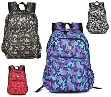 Ladies Large Backpack Rucksack School Travel Bag Army Print Holiday Shoulder Bag