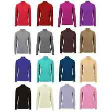 New Women Ladies Ribbed Full Sleeve Roll High Neck Polo Turtle Top Jumper