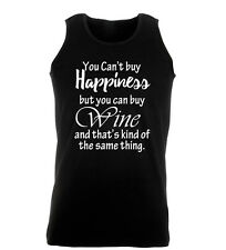 You Can't Buy Happiness But You Can Buy Wine Funny Gym Mens Vest Workout