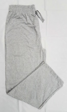 Mens Grey Open Hem Joggers Lounge Pants Lightweight Trousers Pyjama Bottoms