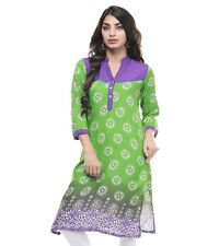Vipakshi Women's Green Multi-Color Printed Cotton Kurti (RS-5500 K)