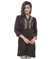 Vipakshi Women's Brown Solid Embroidered Rayon Kurti (RS-5500 L)