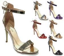 WOMENS HIGH HEEL ANKLE BUCKLE TIE UP SANDALS LADIES PEEP TOE PARTY SHOES 3-8