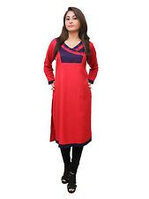 Vipakshi Women's Red Blue Embroidered Rayon Kurti (RS-7600 D)
