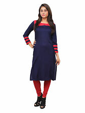 Vipakshi Women's Blue Embroidered Rayon Kurti (RS-7800 R)