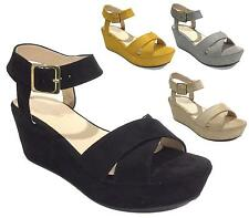 Ladies Summer Sandals Womens Strappy Open Toe Slingback Wedge Heel Flatforms 3-8