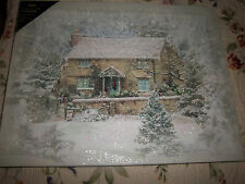 NEW Cottage in Snow Lighted Picture Radiance Canvas  Windows Lights Up