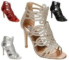 WOMENS ZIP BACK HIGH HEELS STILETTO ANKLE SANDALS PEEP TOE SHOES SIZE 3-8